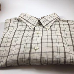 Van Heiden brown check button down shirt neck 17